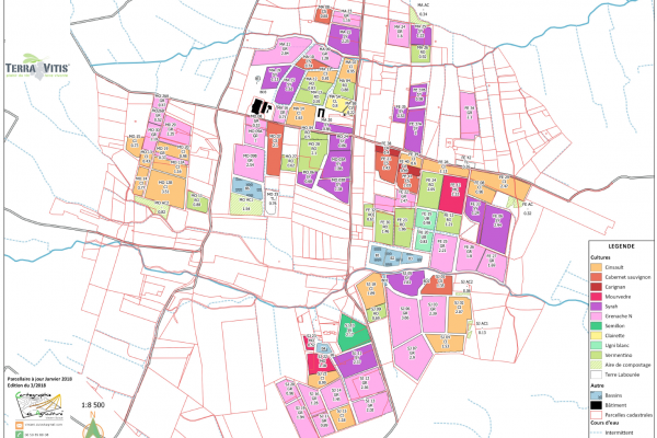 cartographie agriculture SIG GPS carte carto plan parcelle agricole surface superficie couleur culture arboriculture cadastre exploiation tableau données vigne cépages viticulture