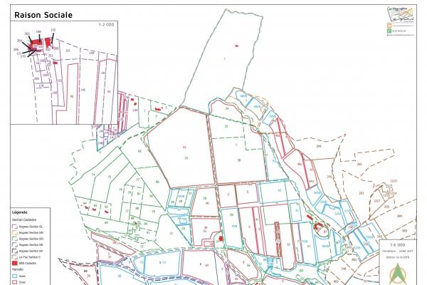 cartographie agriculture SIG GPS carte carto plan parcelle agricole surface superficie couleur culture fruits et légumes maraîchage cadastre exploitation